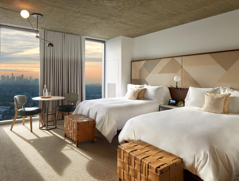 two double beds overlooking weho skyline