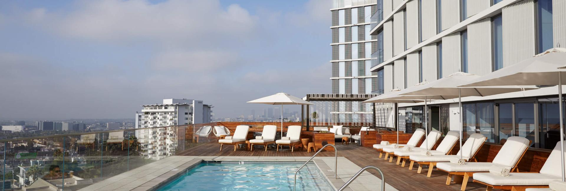 The rooftop swimming pool at the Jeremy Hotel West Hollywood