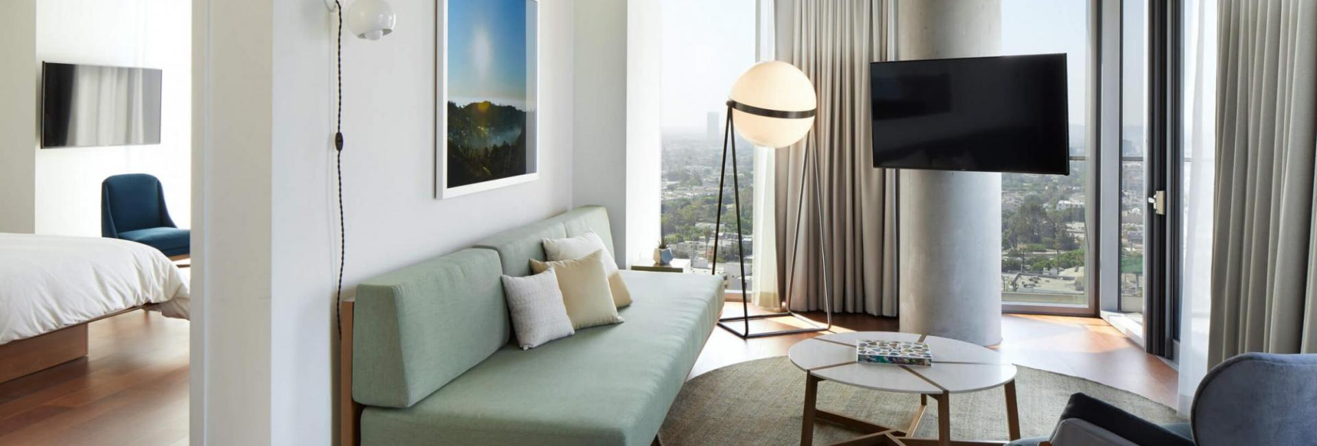 The living area of a 1 Bedroom Suite at the Jeremy West Hollywood Hotel