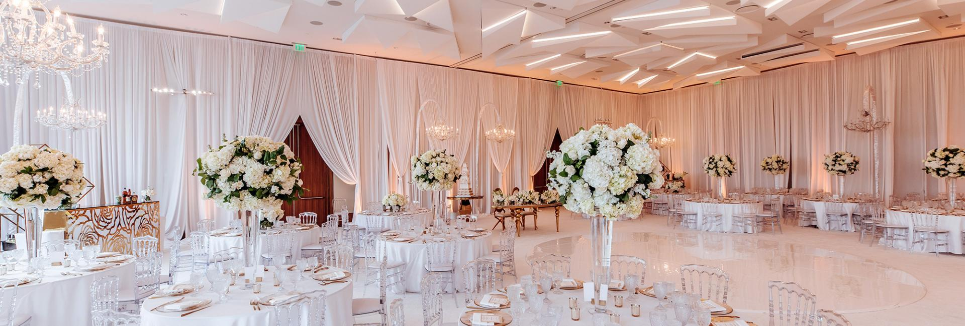 wedding venue decorated in white at the Jeremy Hotel West Hollywood