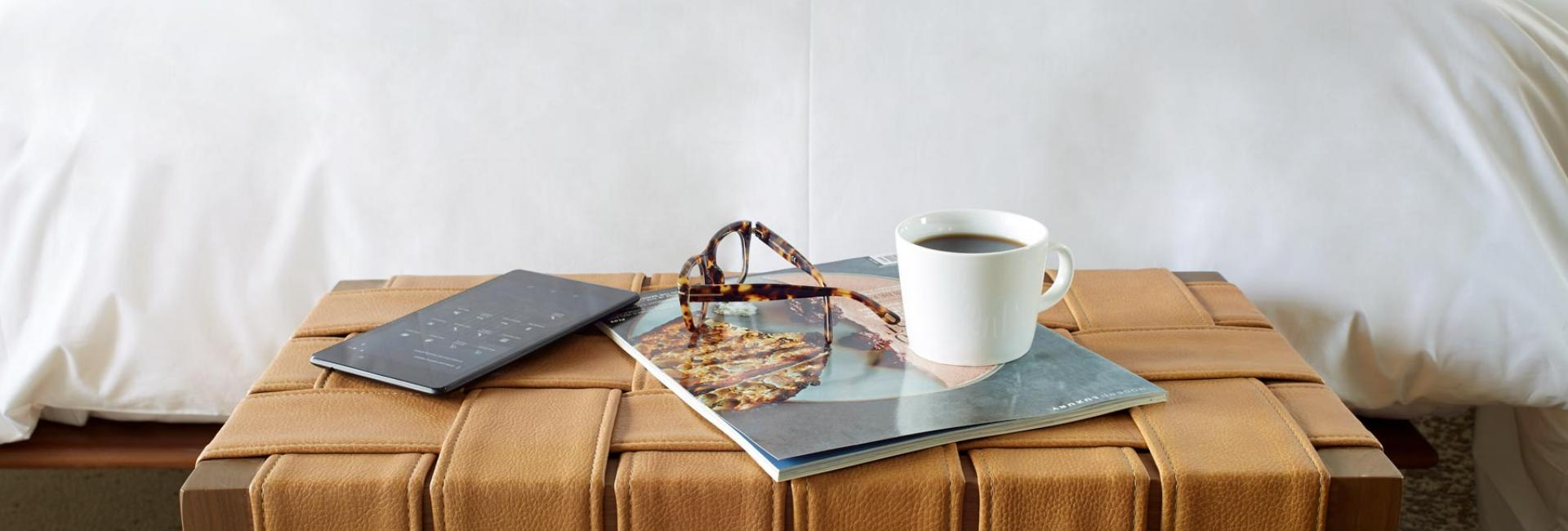 magazine, coffee and glasses