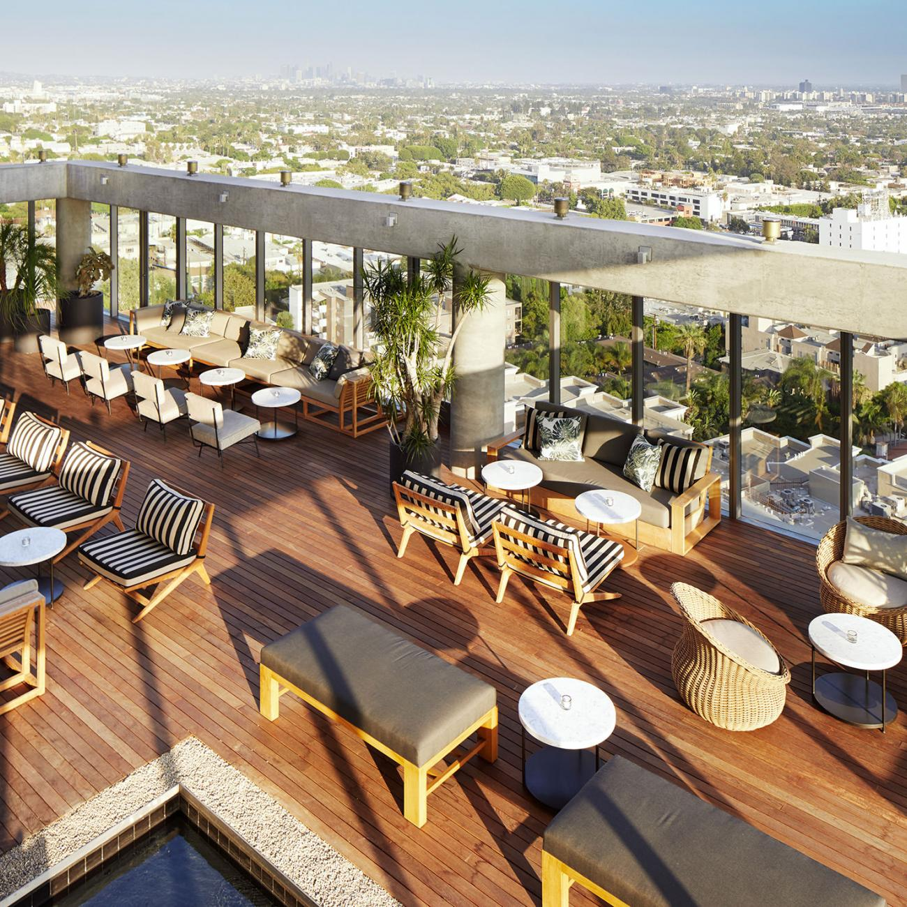 The Jeremy Hotel's rooftop deck with a view of West Hollywood