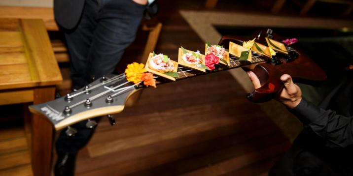 catering platter served on a guitar neck
