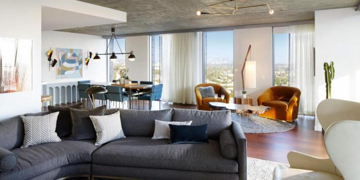 living area in the canyon penthouse