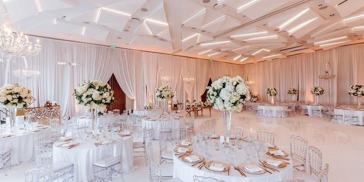 wedding venue decorated in white
