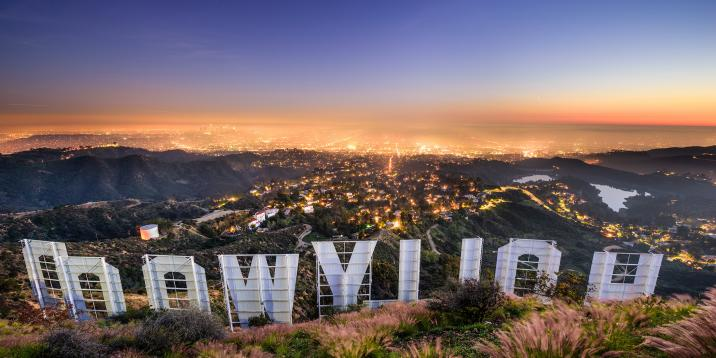 A view of Hollywood from behind the Hollywood sign
